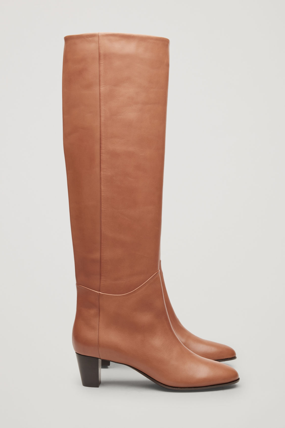 Side image of Cos knee-high leather boots in beige