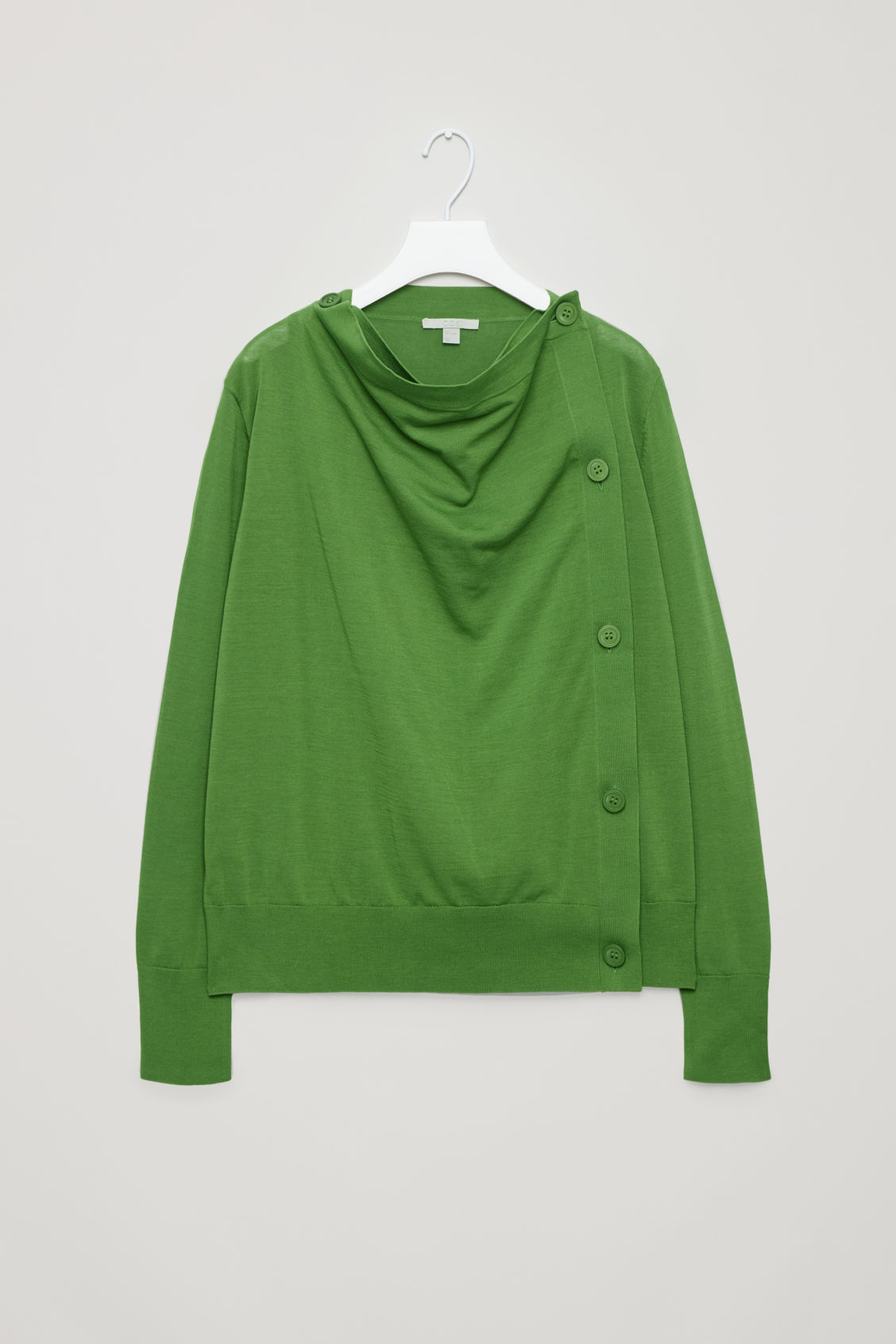 Front image of Cos draped cotton cardigan  in green
