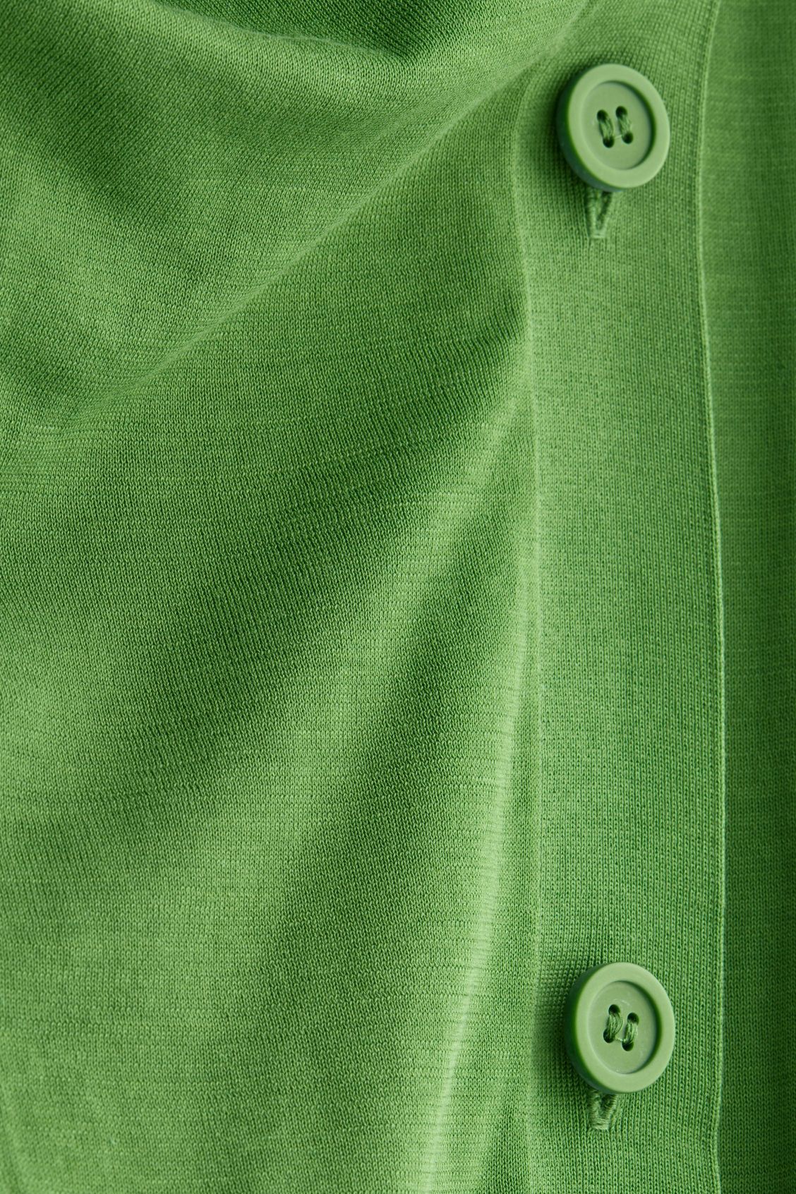 Side image of Cos draped cotton cardigan  in green