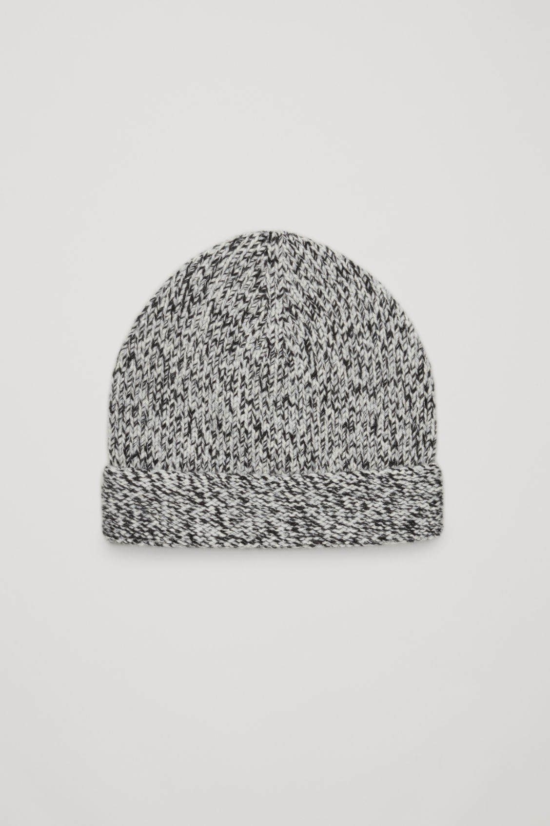 Front image of Cos melange cashmere hat in black