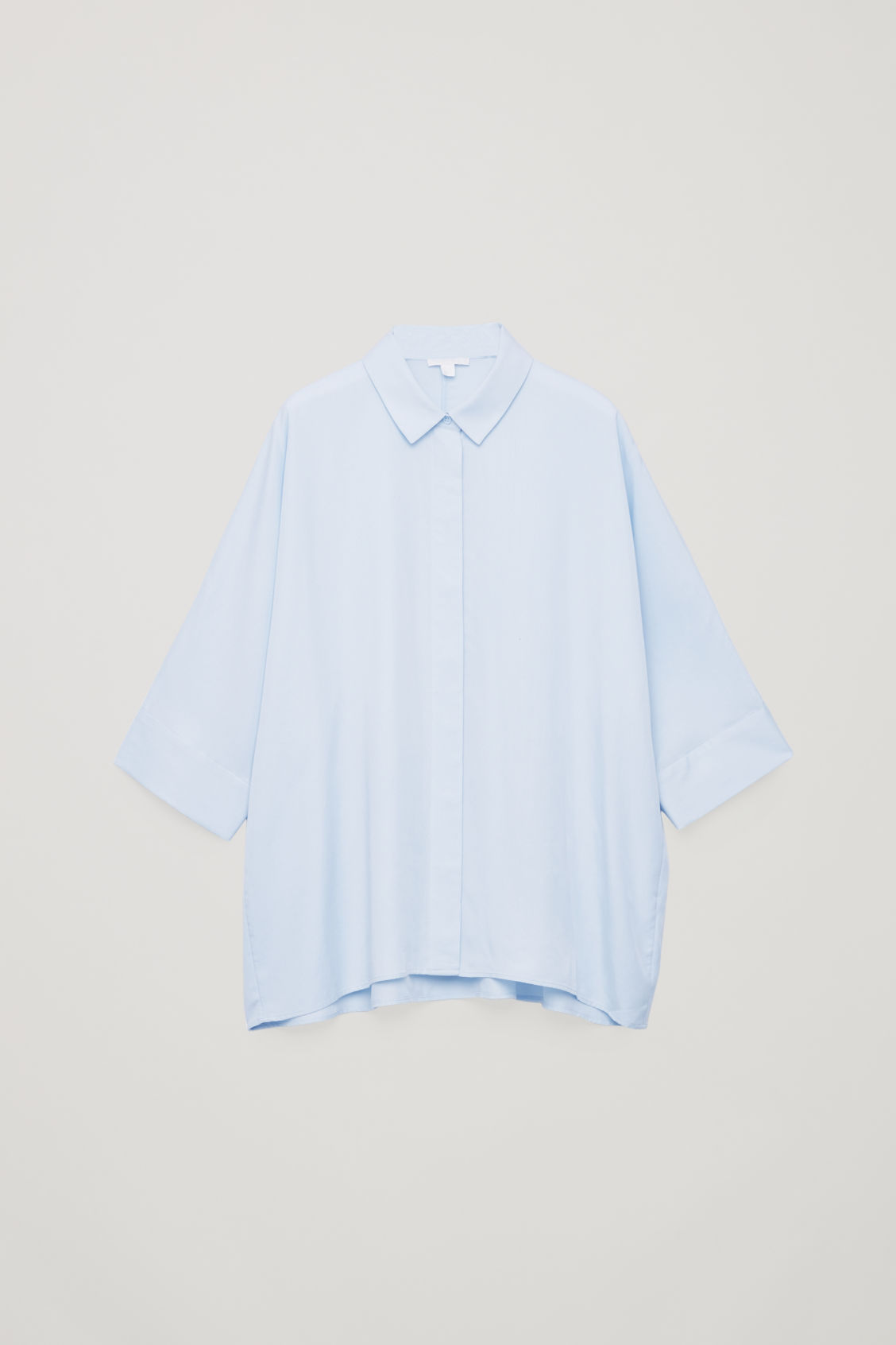 Front image of Cos draped wide-fit shirt  in blue