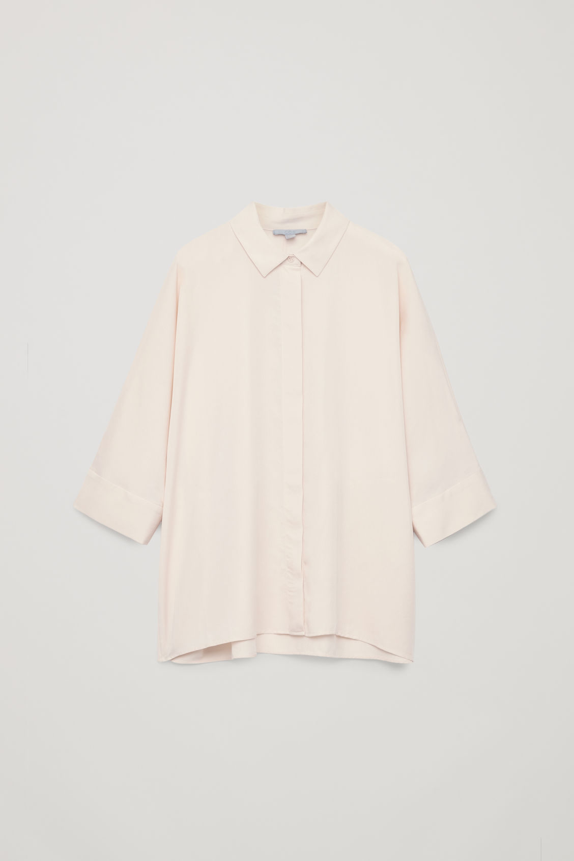 Front image of Cos draped wide-fit shirt  in beige
