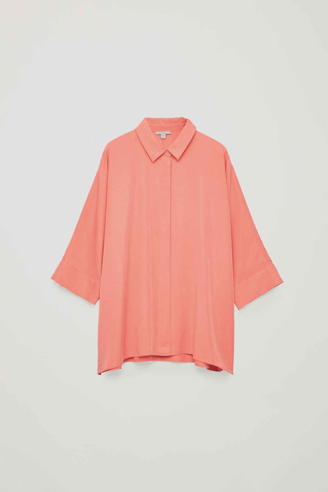 Front image of Cos draped wide-fit shirt  in orange