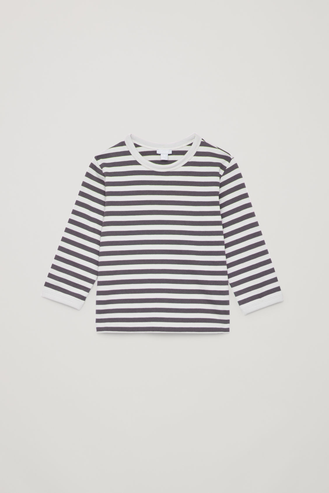 Front image of Cos striped top with elbow patches in grey