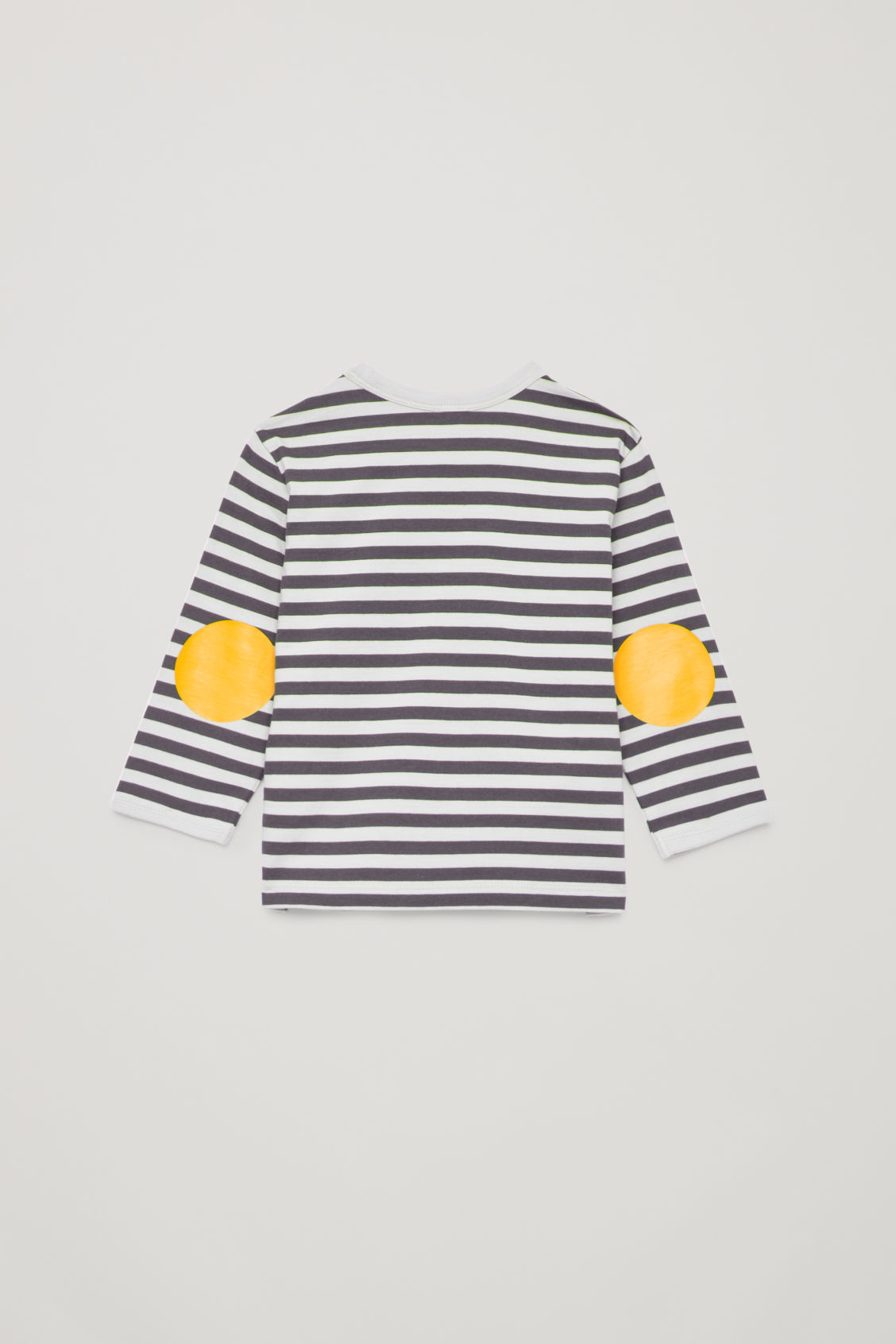 Side image of Cos striped top with elbow patches in grey