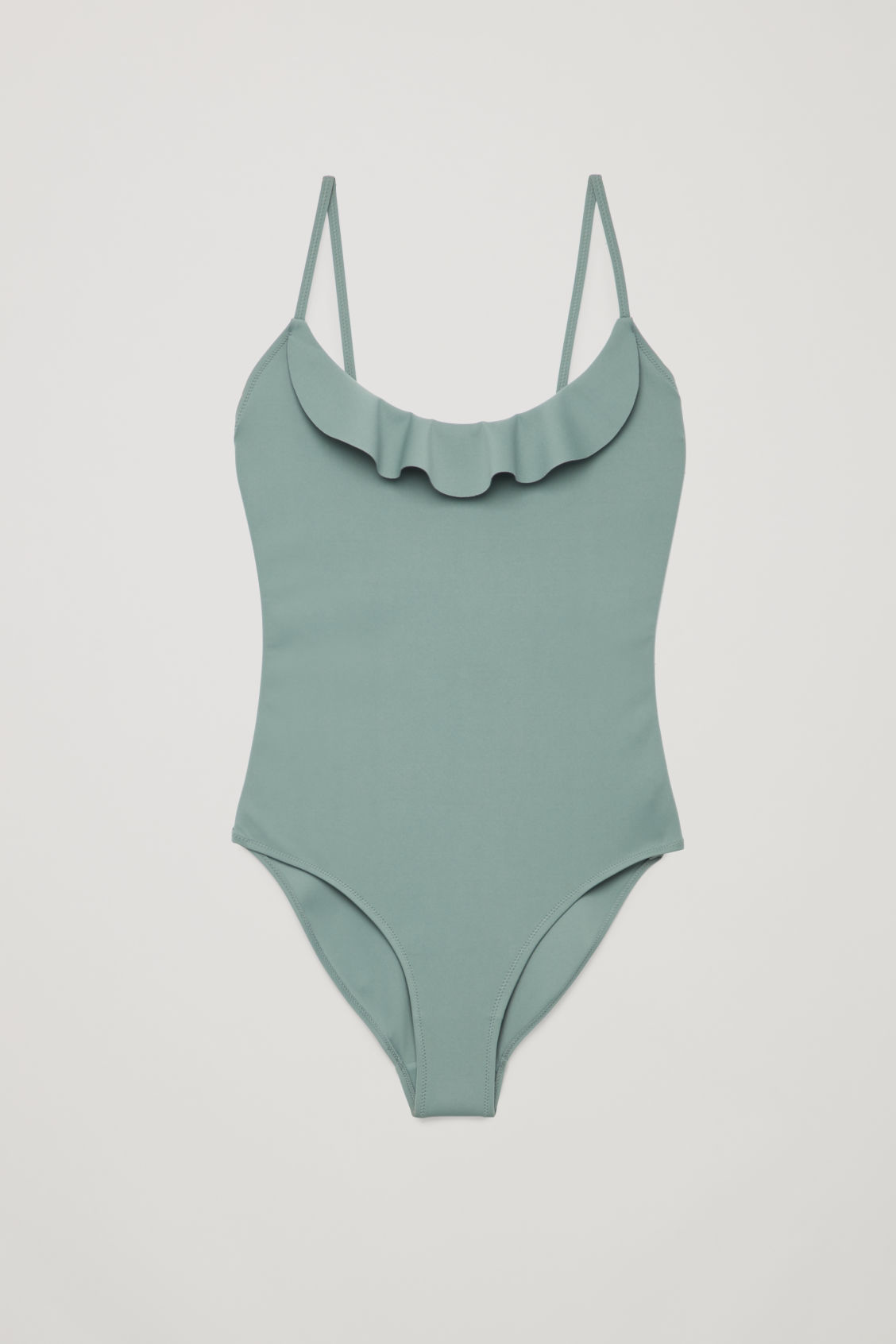 Front image of Cos frill detail swimsuit   in green