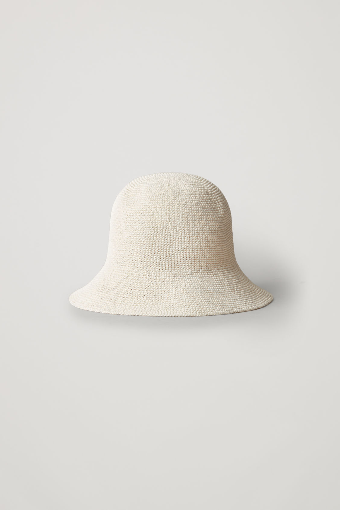 Front image of Cos crochet bucket hat in white