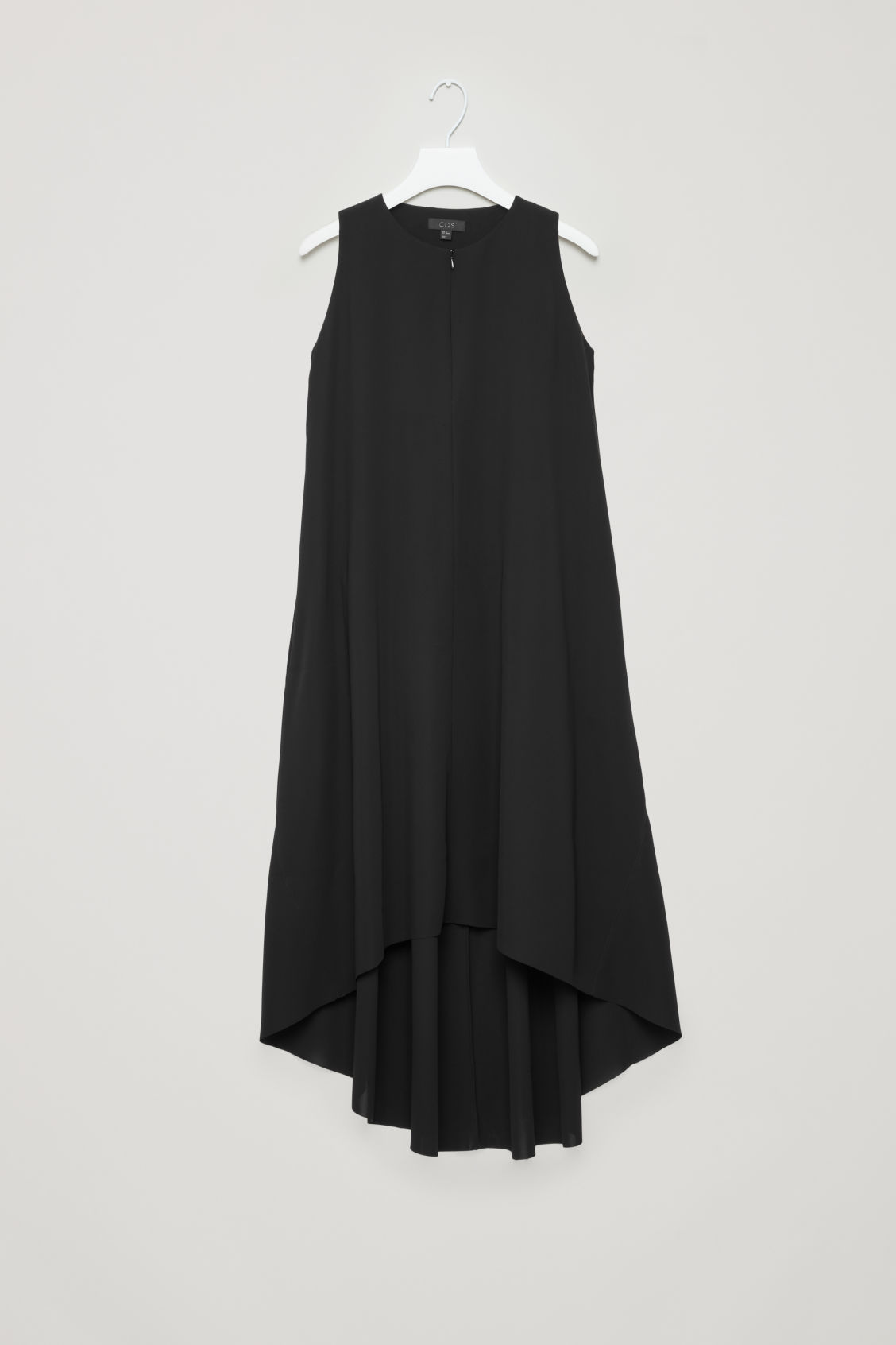 Front image of Cos sleeveless dress with pleats in black