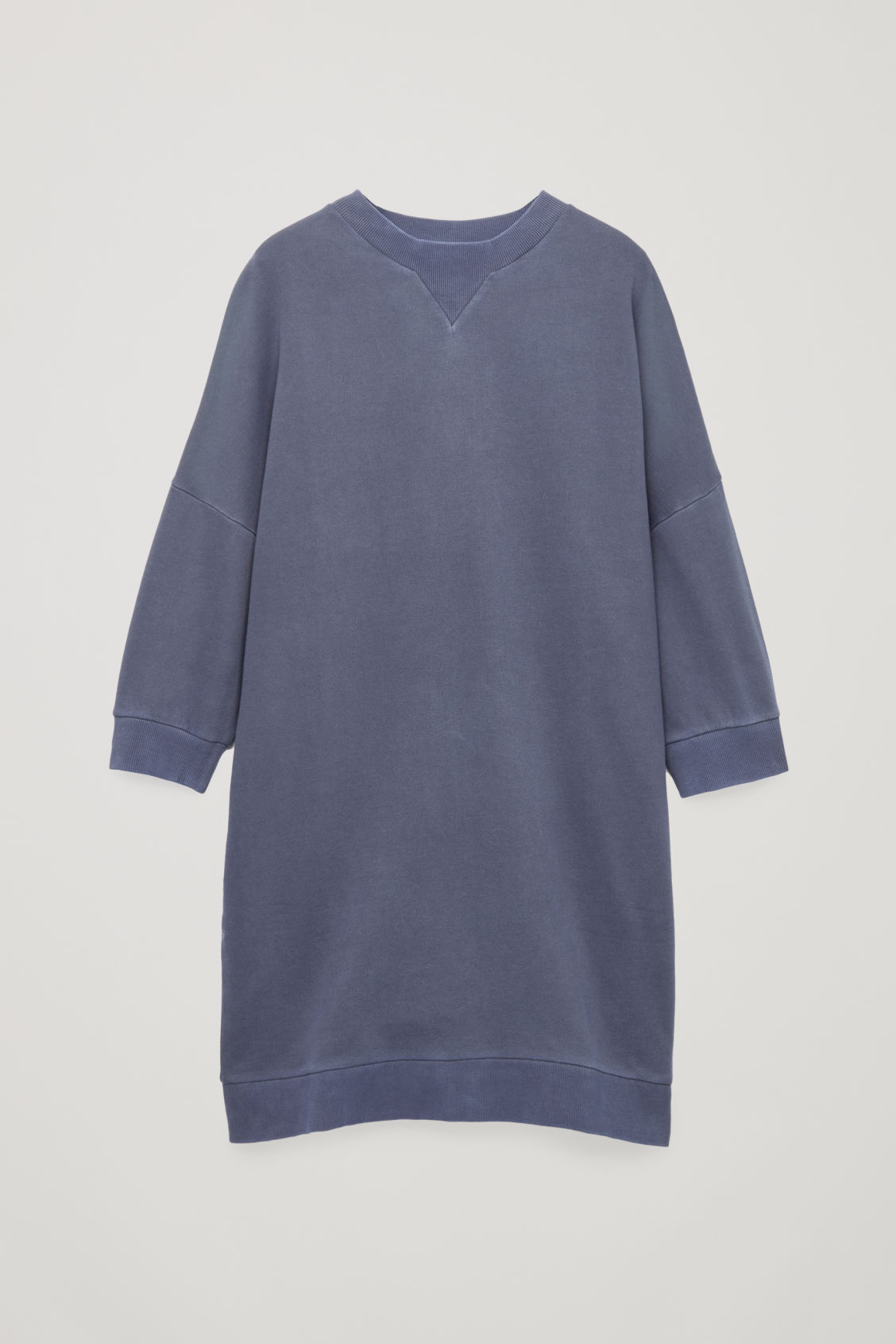 Front image of Cos ¾-sleeved sweatshirt dress in blue