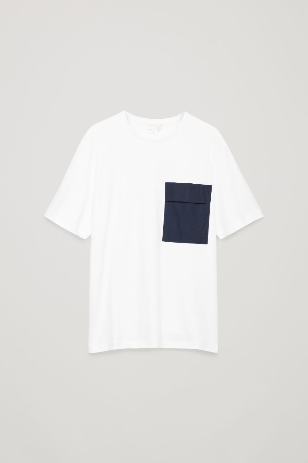 Front image of Cos t-shirt with contrast pocket in white
