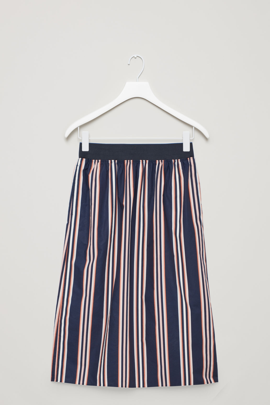 Front image of Cos wide-elastic cotton skirt in blue