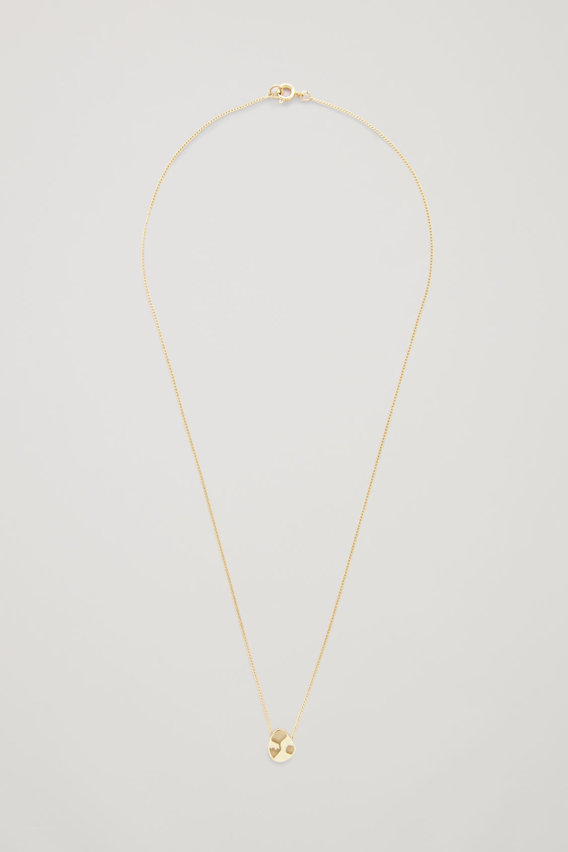 Front image of Cos short necklace with uneven disc  in gold