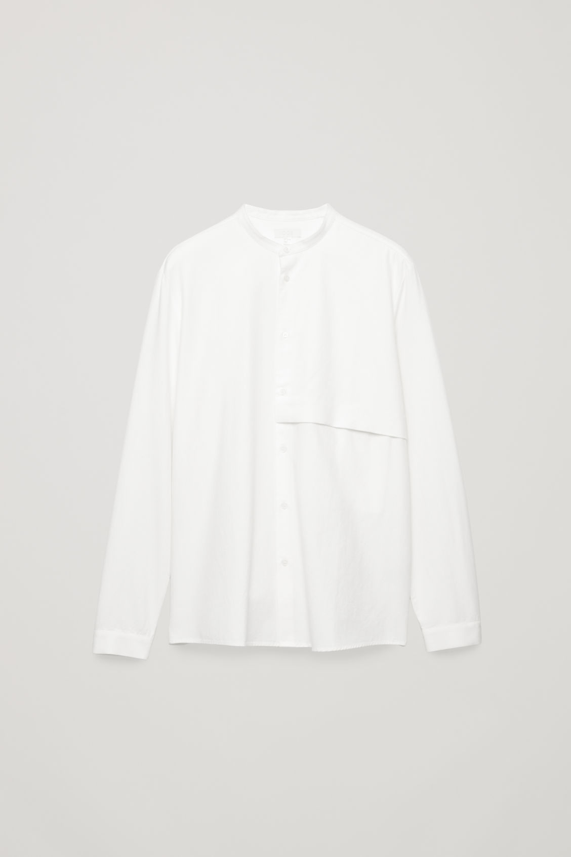 Front image of Cos grandad-collar shirt with pocket in white