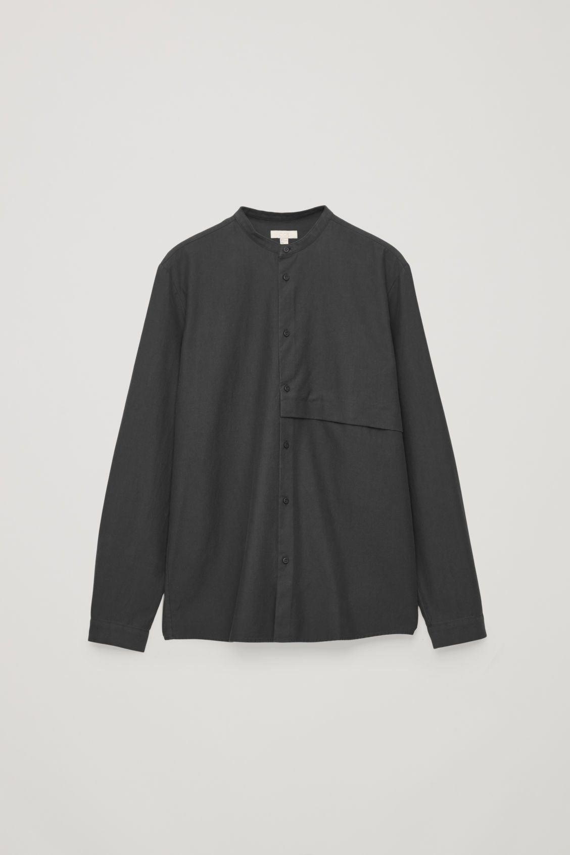 Front image of Cos grandad-collar shirt with pocket in black