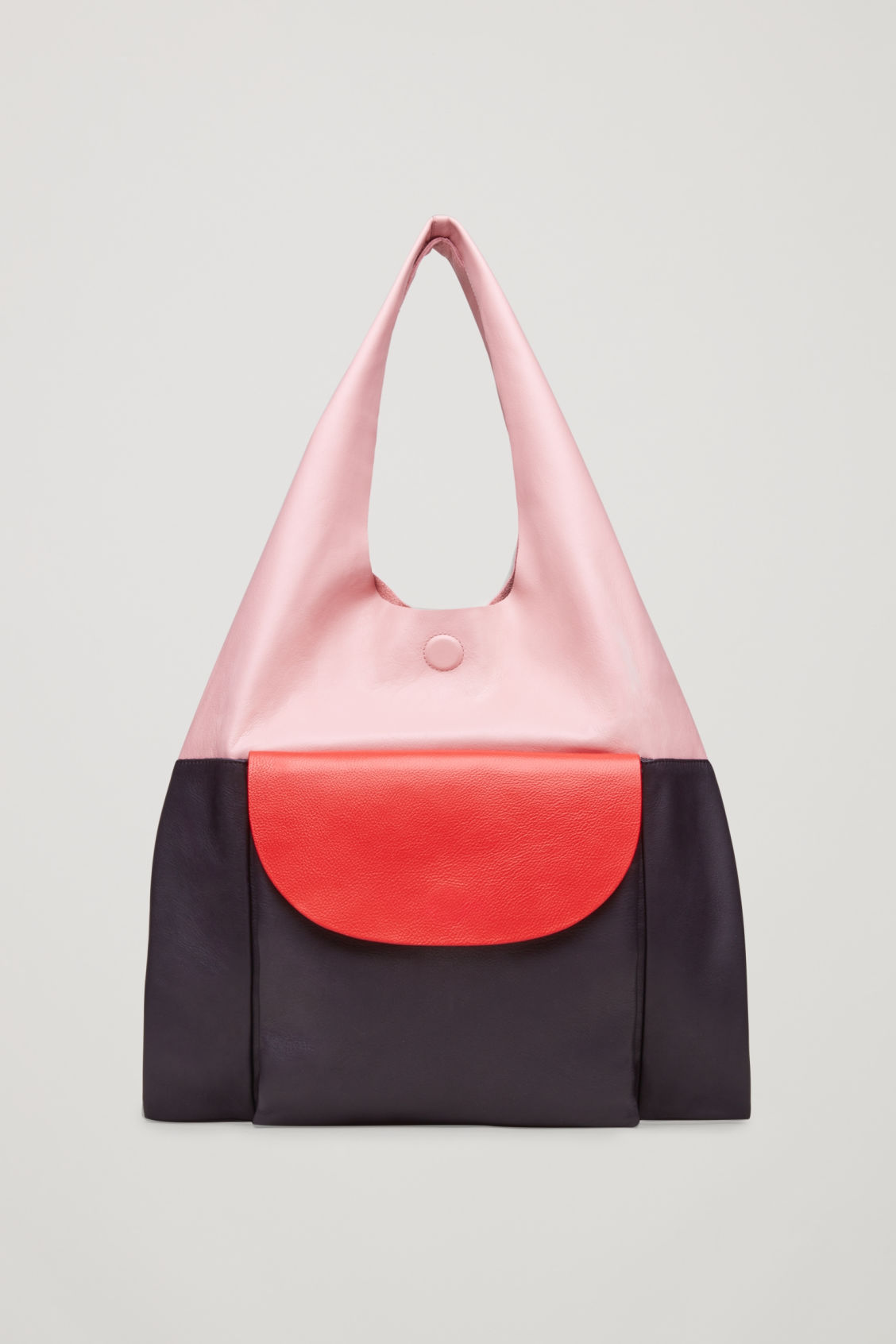 Cos COLOUR-BLOCK LEATHER TOTE BAG - PINK