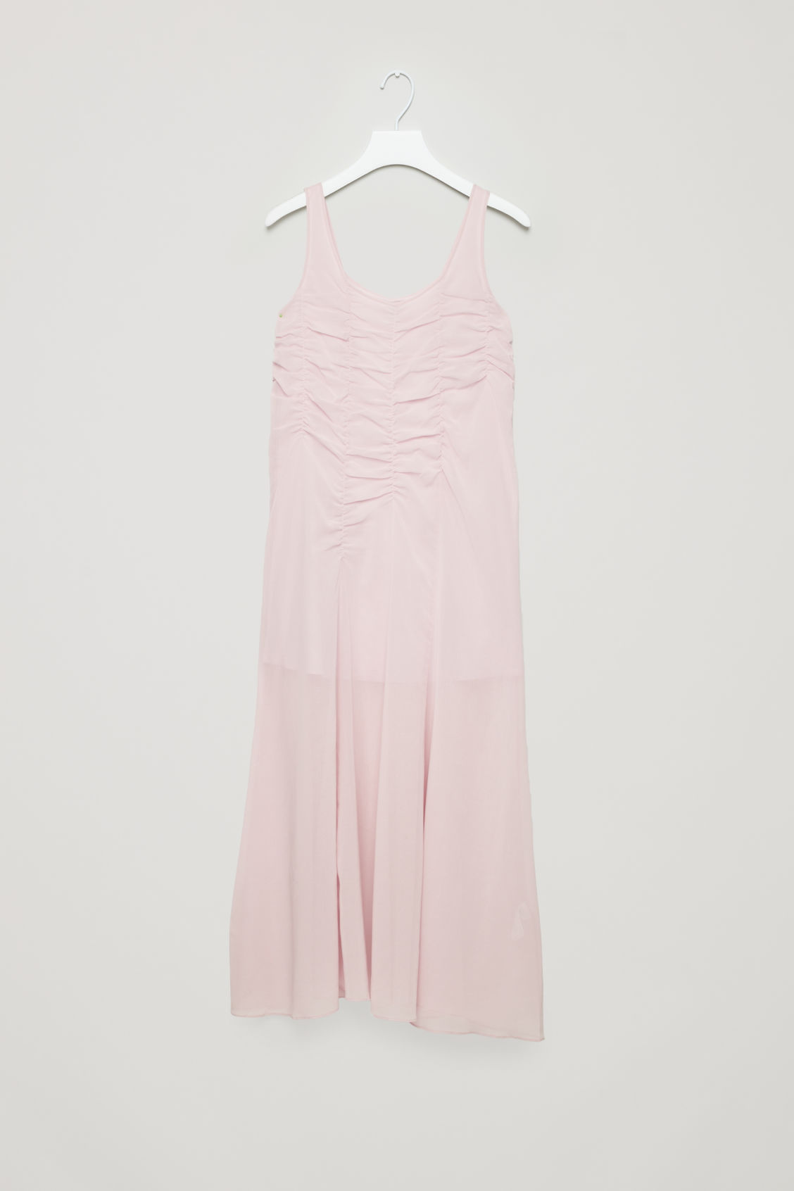 Front image of Cos sleeveless gathered dress in pink