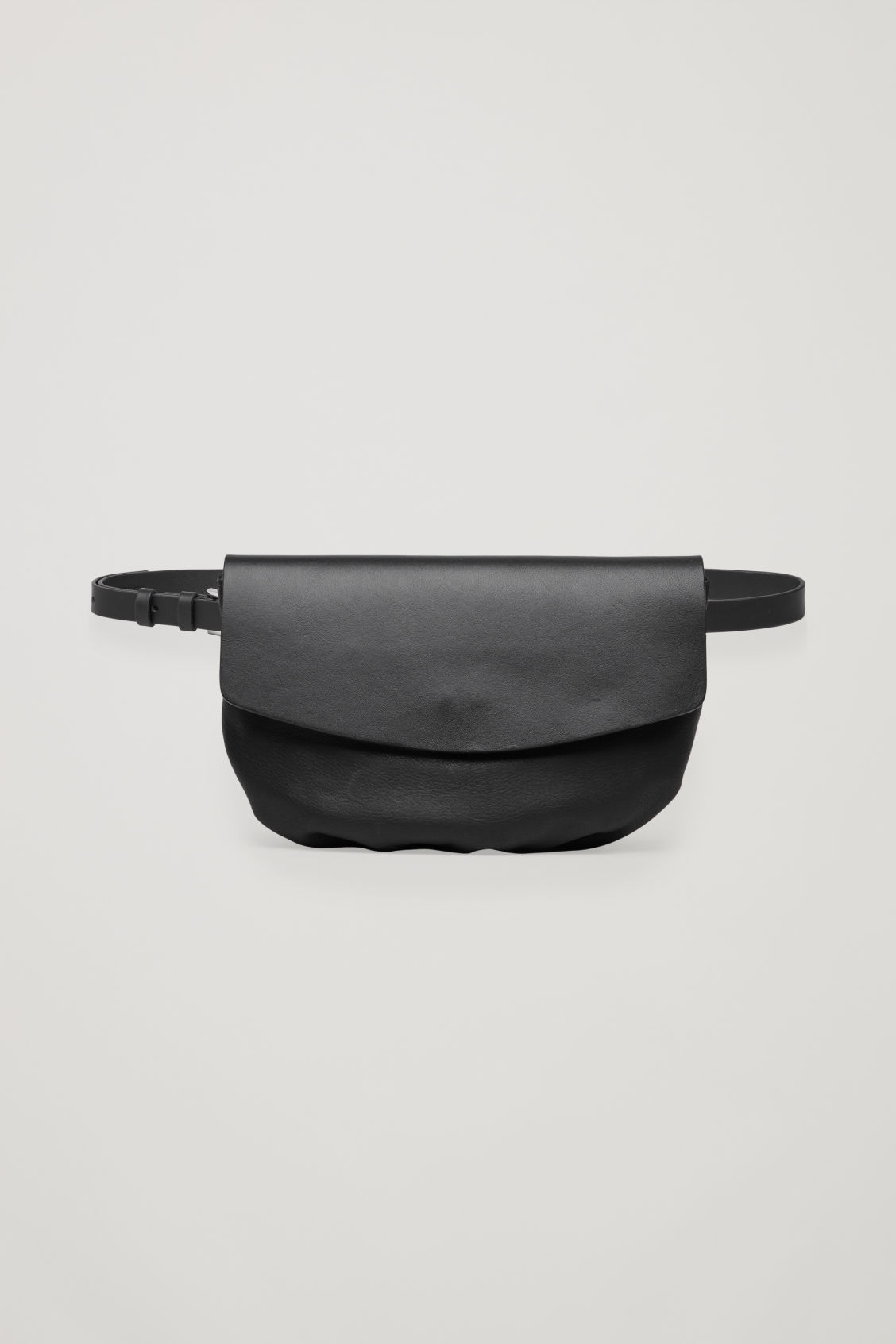 Front image of Cos leather belt bag in black