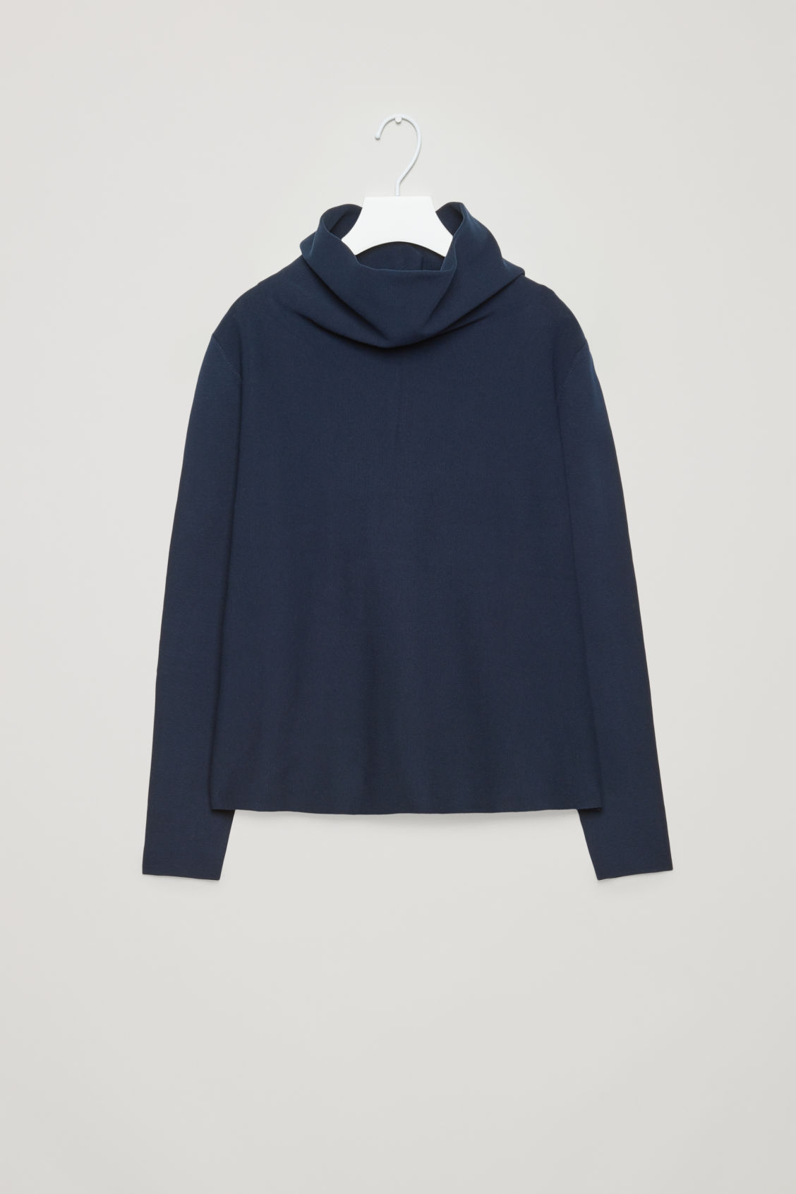 Front image of Cos high-neck a-line jumper in blue
