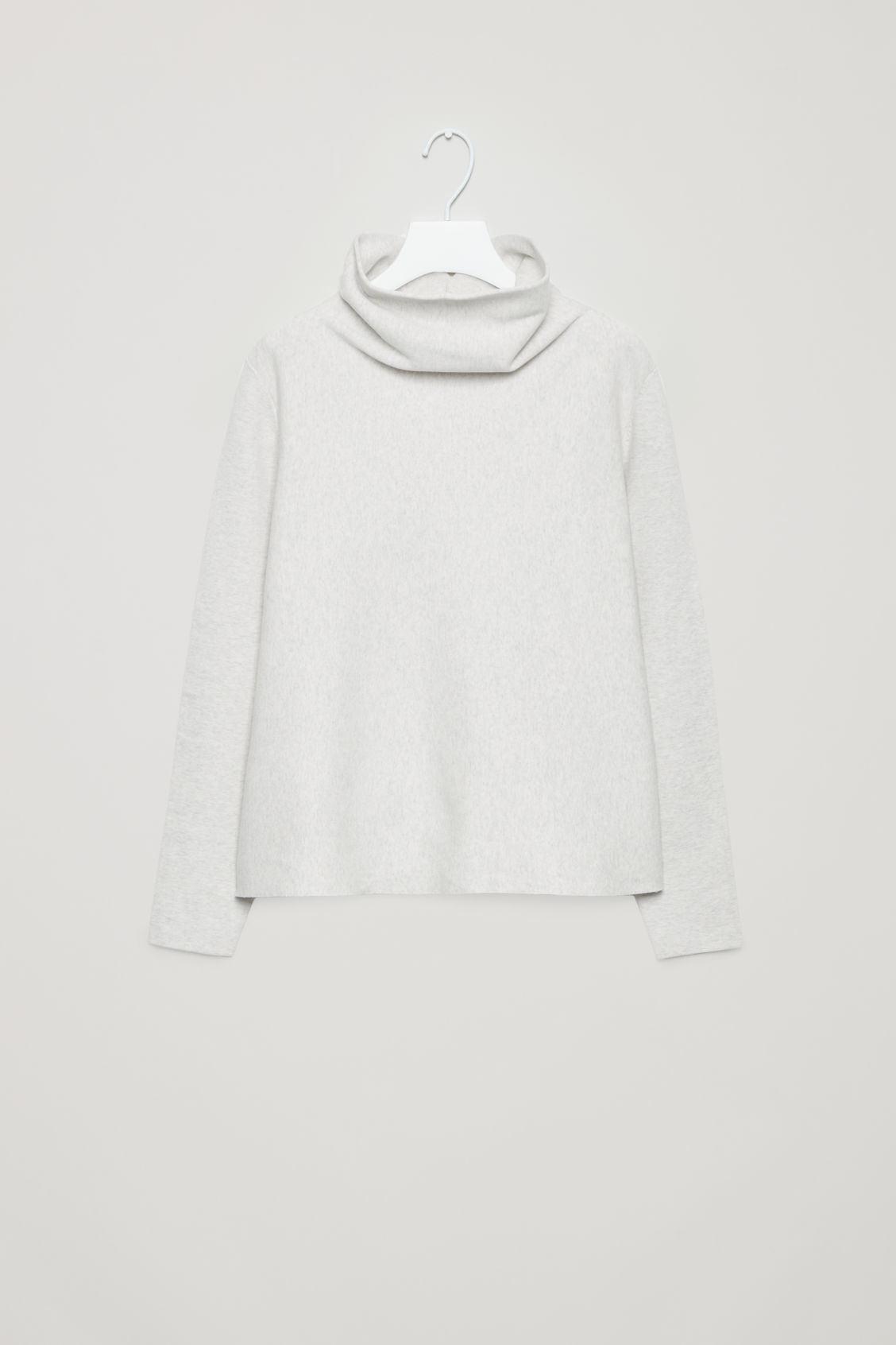 Front image of Cos high-neck a-line jumper in grey