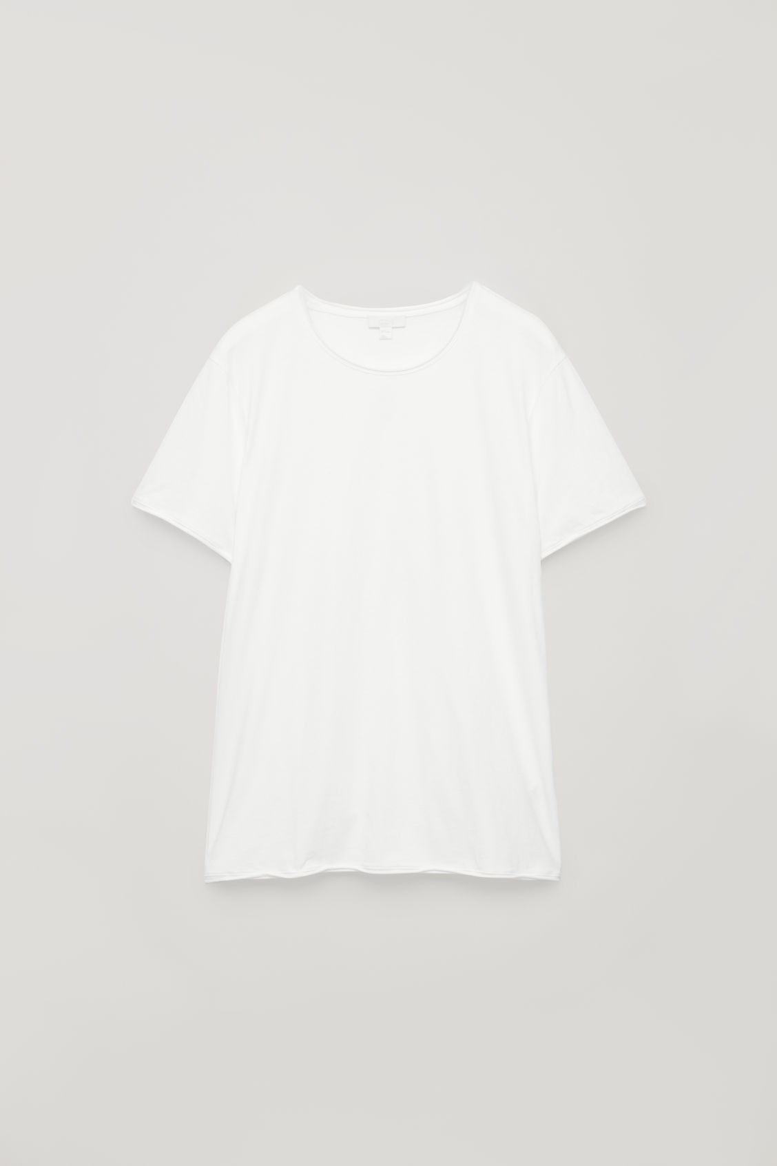 Front image of Cos t-shirt with rolled edges in white