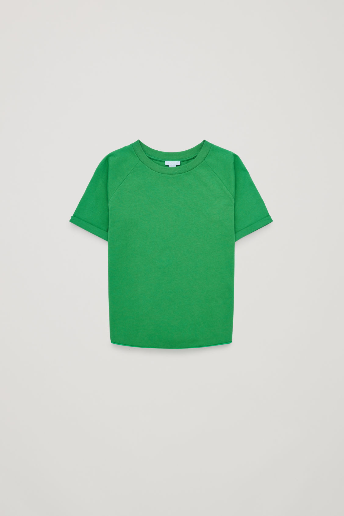 Front image of Cos raglan-sleeved cotton t-shirt in green