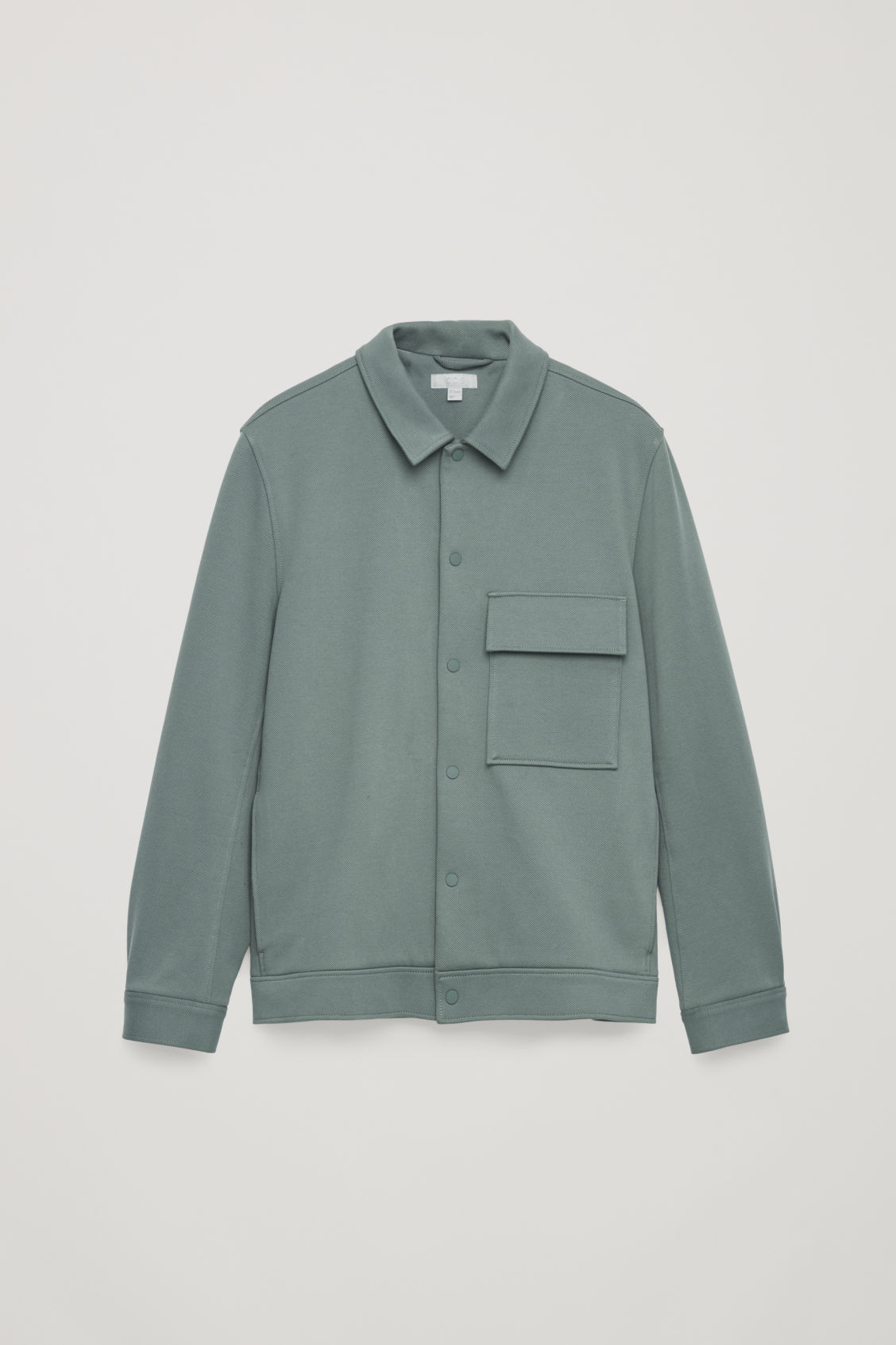 Front image of Cos cotton-twill shirt jacket  in green