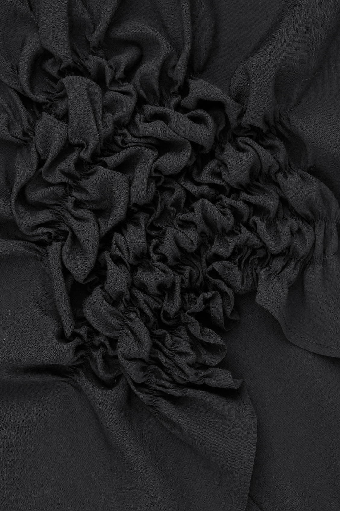 Side image of Cos draped blouse with gathered detail in black