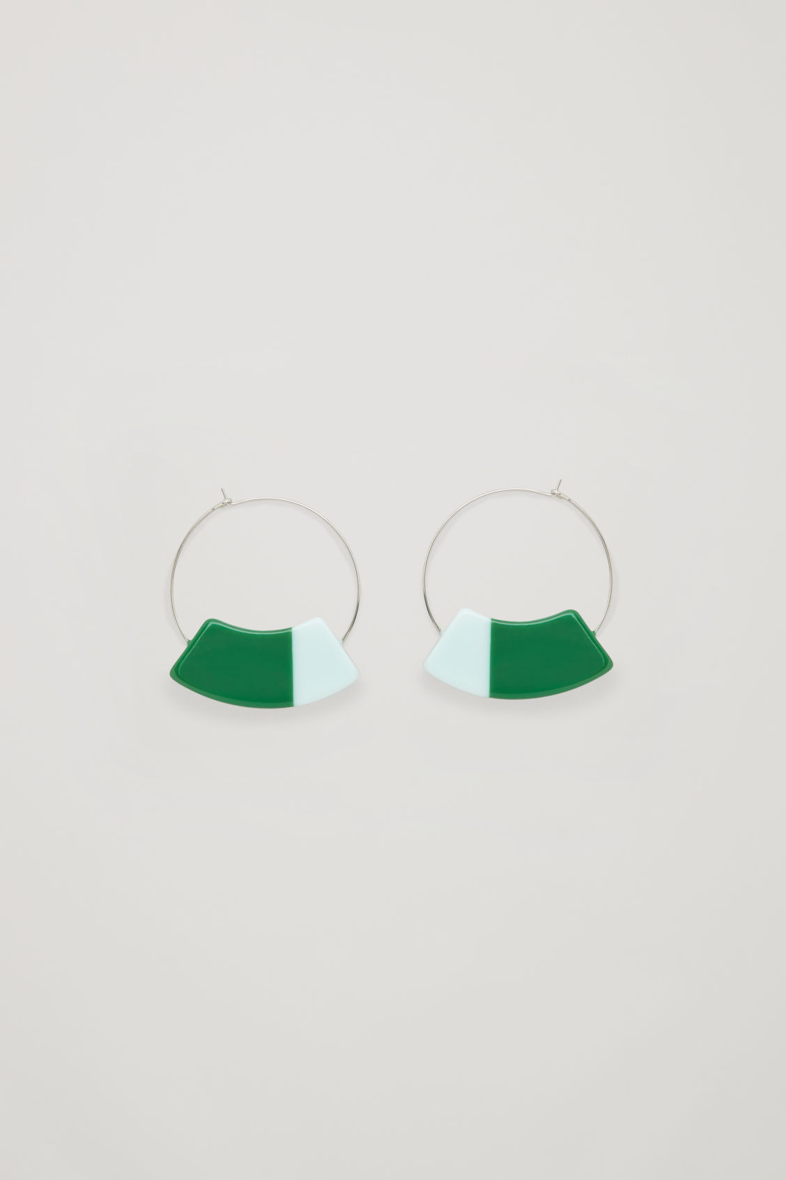 Front image of Cos colour-block hoops in green
