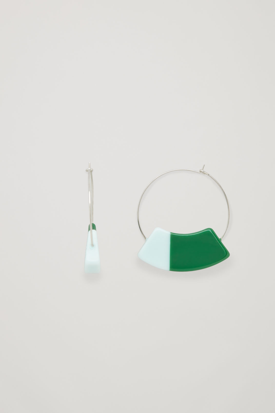 Side image of Cos colour-block hoops in green