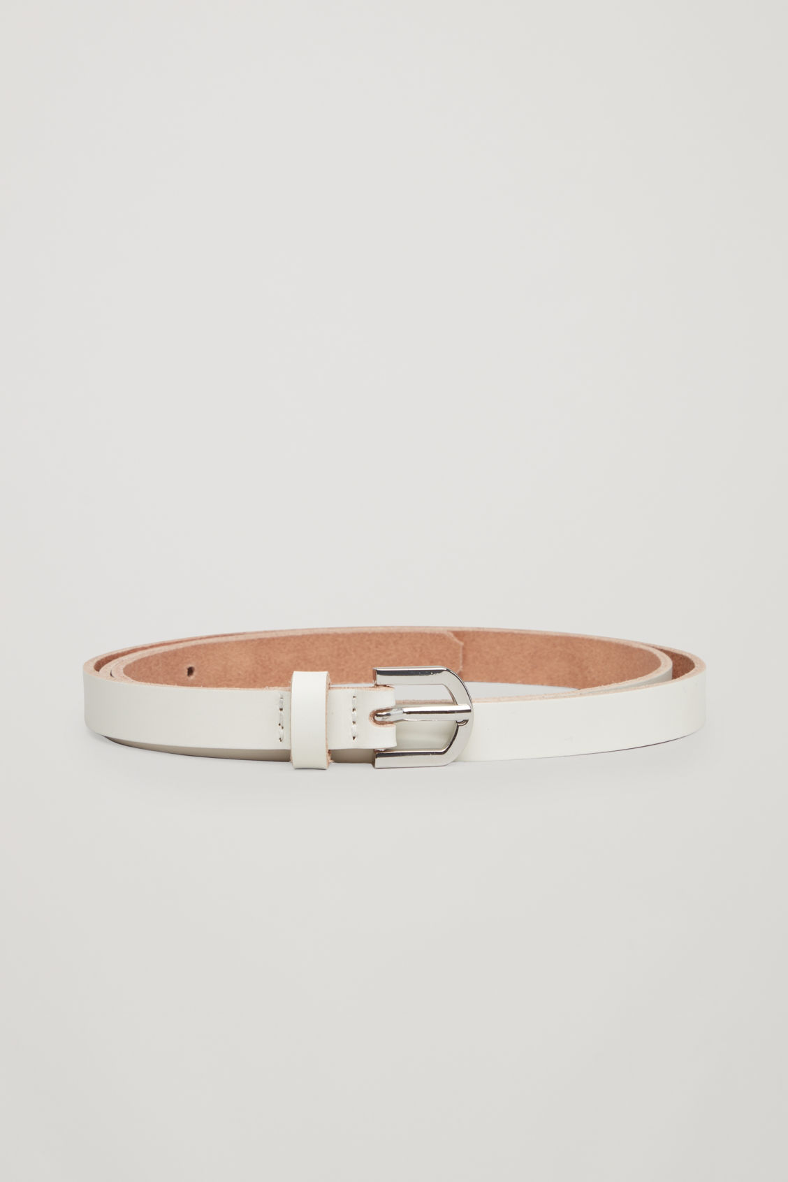 Front image of Cos  leather belt with contrast buckle in white
