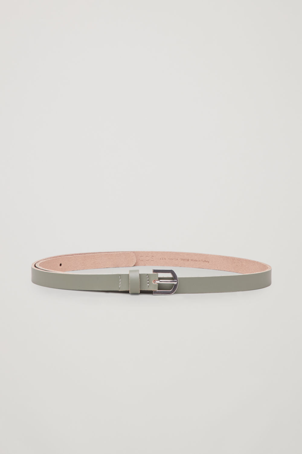 CONTRAST-BUCKLE LEATHER BELT