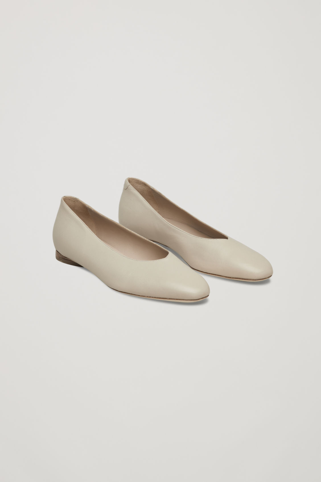 Front image of Cos leather ballerinas in beige