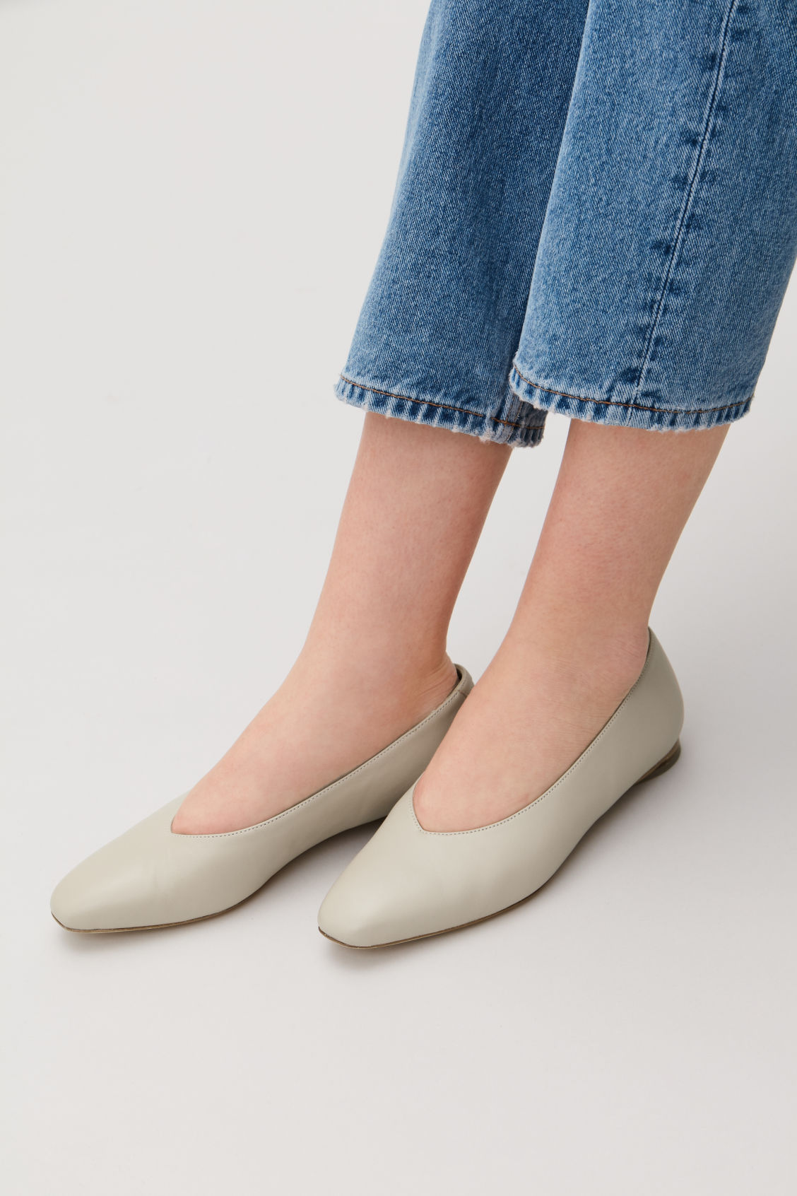 Side image of Cos leather ballerinas in beige