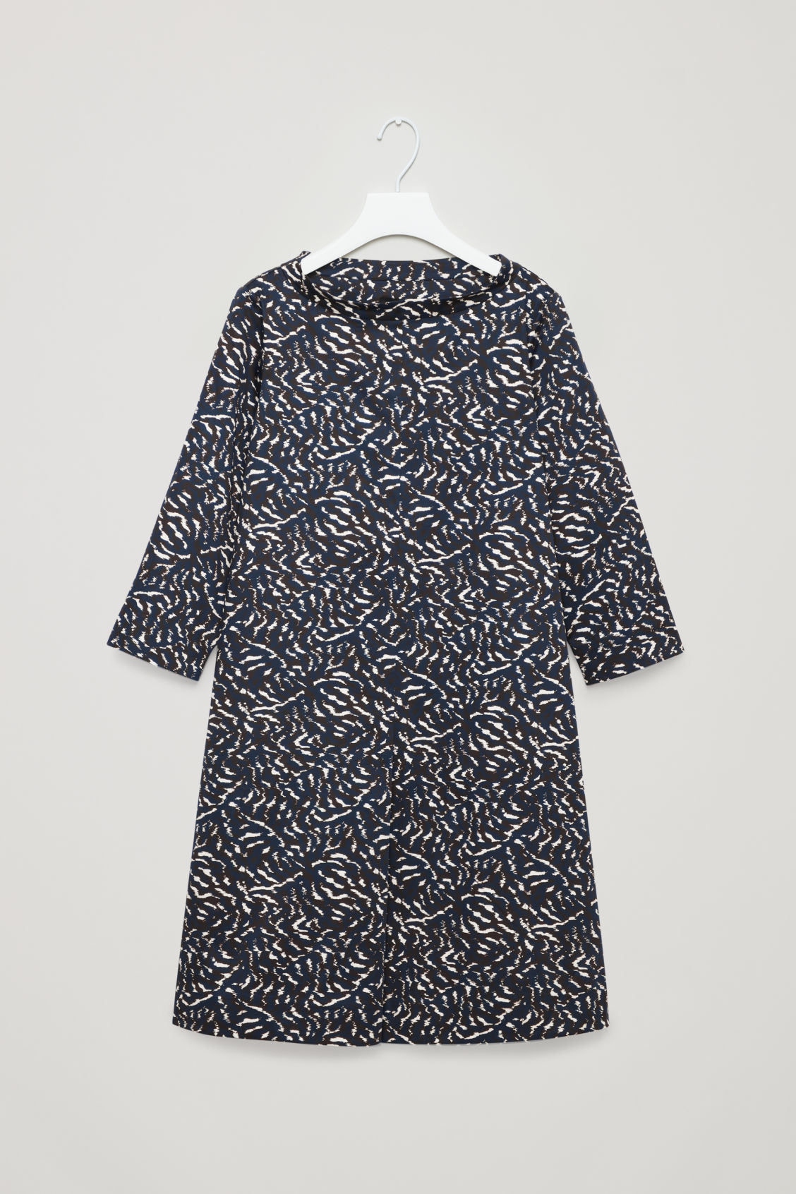 Front image of Cos raised-collar printed dress in blue