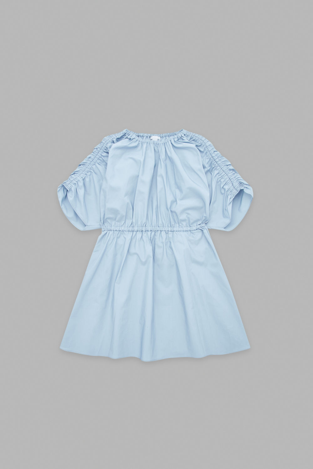 GATHERED POPLIN DRESS