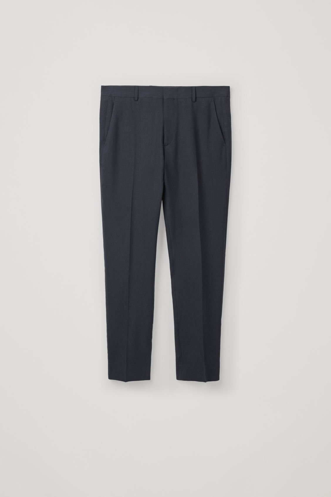 Front image of Cos slim-fit linen trousers in blue