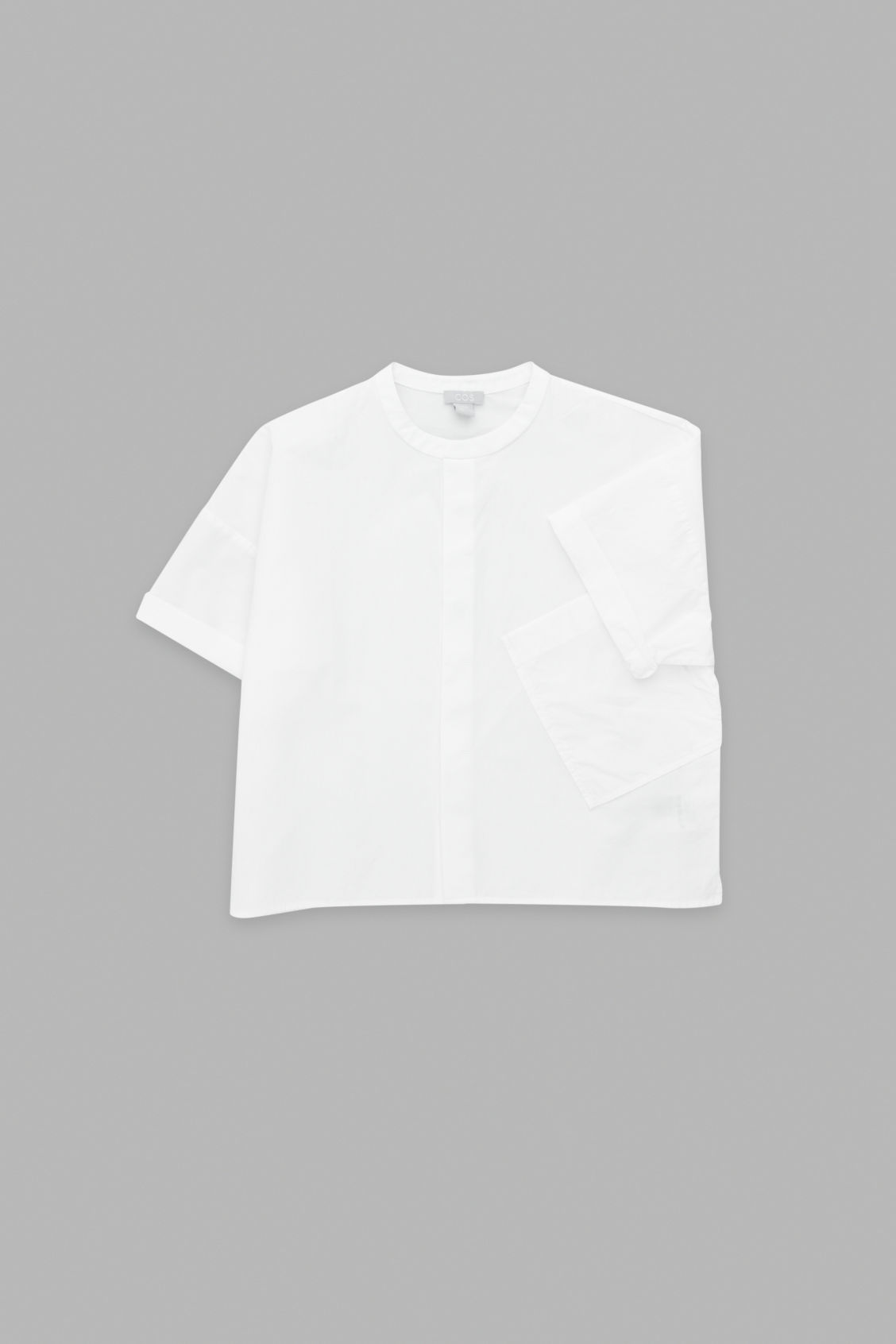 Side image of Cos shirt with standing collar in white