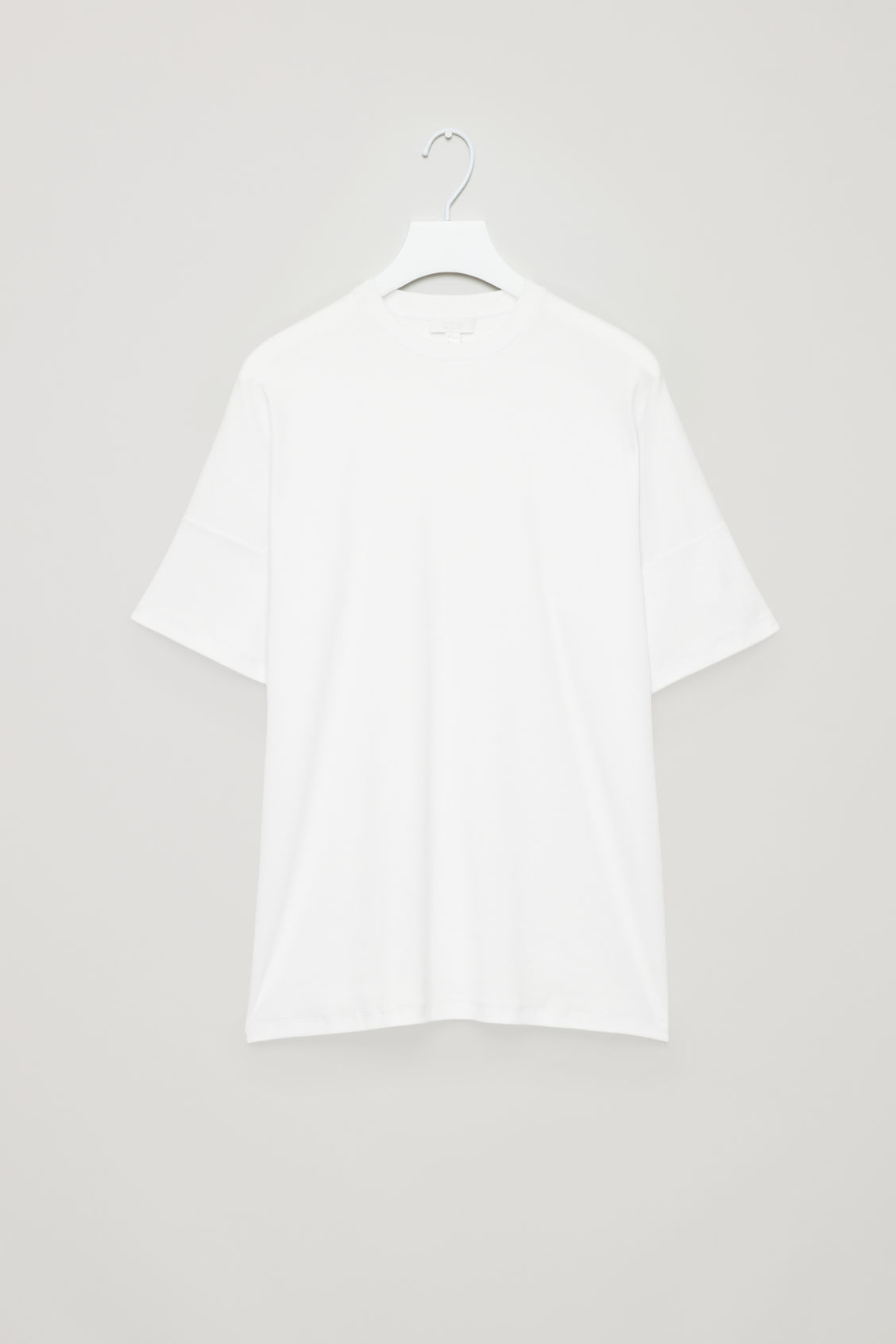 Front image of Cos diagonal-ribbed t-shirt in white