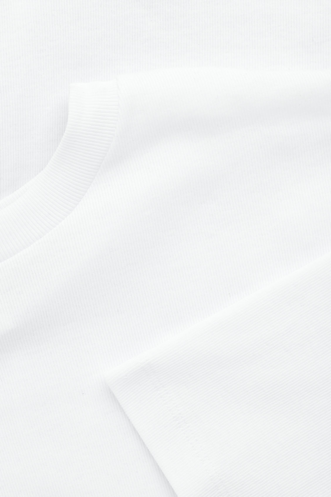 Side image of Cos diagonal-ribbed t-shirt in white