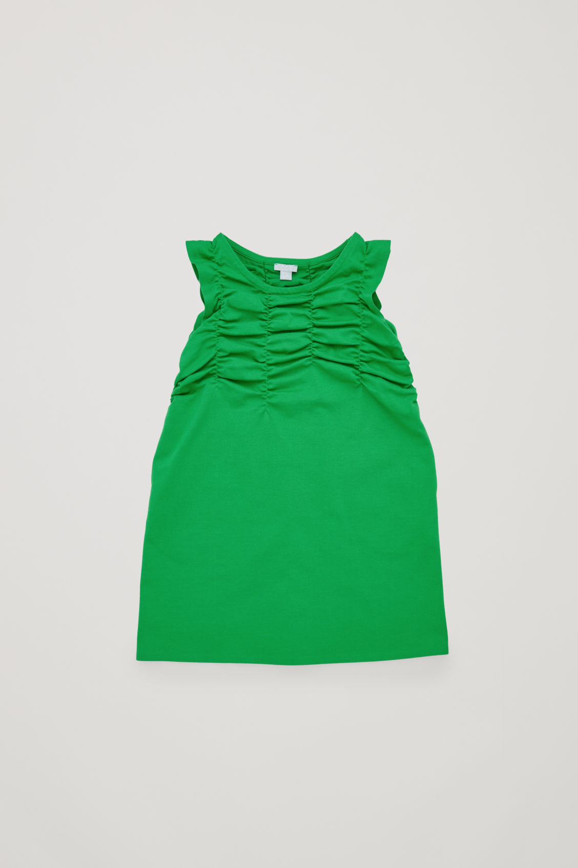 Front image of Cos gathered jersey dress  in green