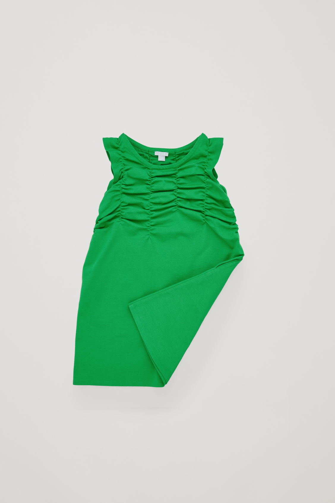 Side image of Cos gathered jersey dress  in green