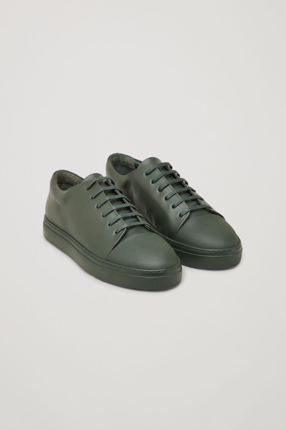 Front image of Cos rubber-detail leather sneakers  in green
