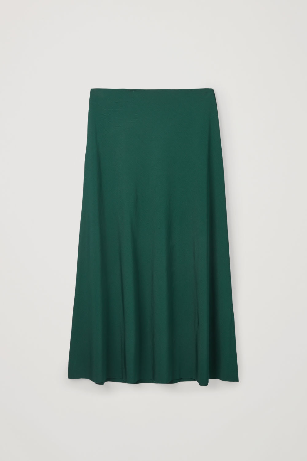 Front image of Cos long a-line jersey skirt in green