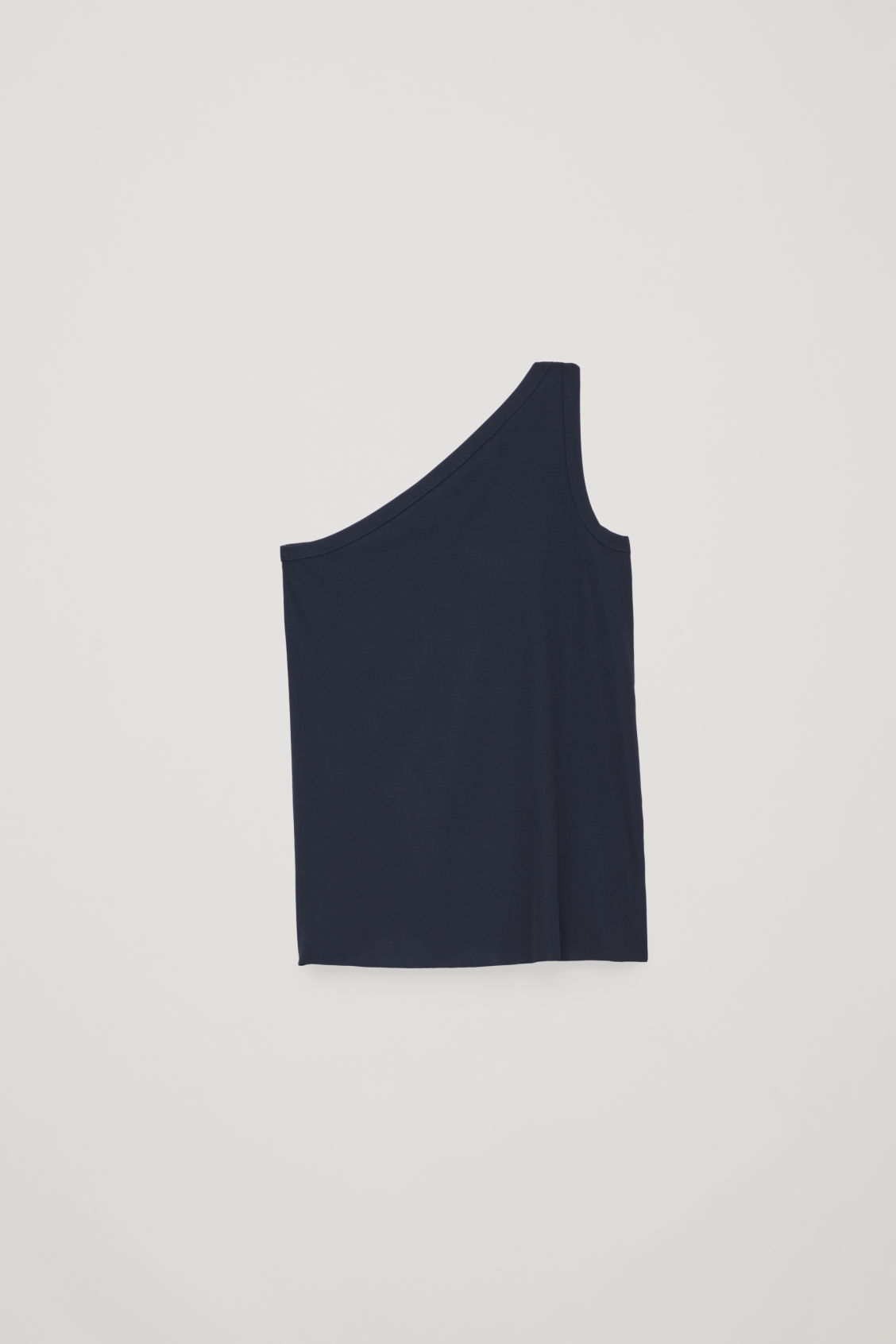 Front image of Cos one-shoulder jersey top in blue