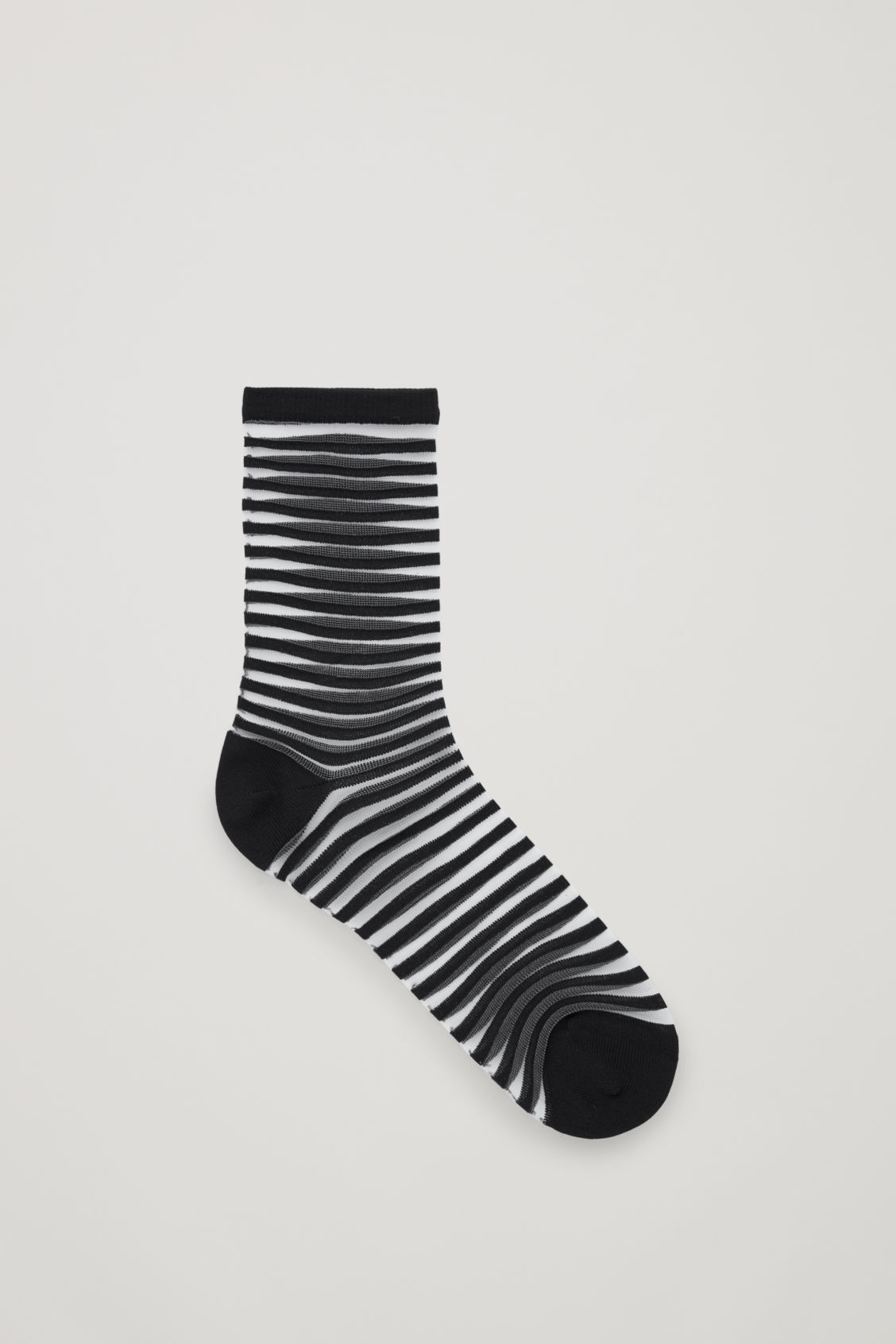 Front image of Cos striped sheer socks in black