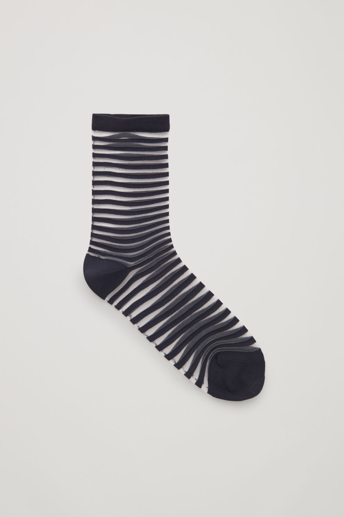 Front image of Cos striped sheer socks in blue
