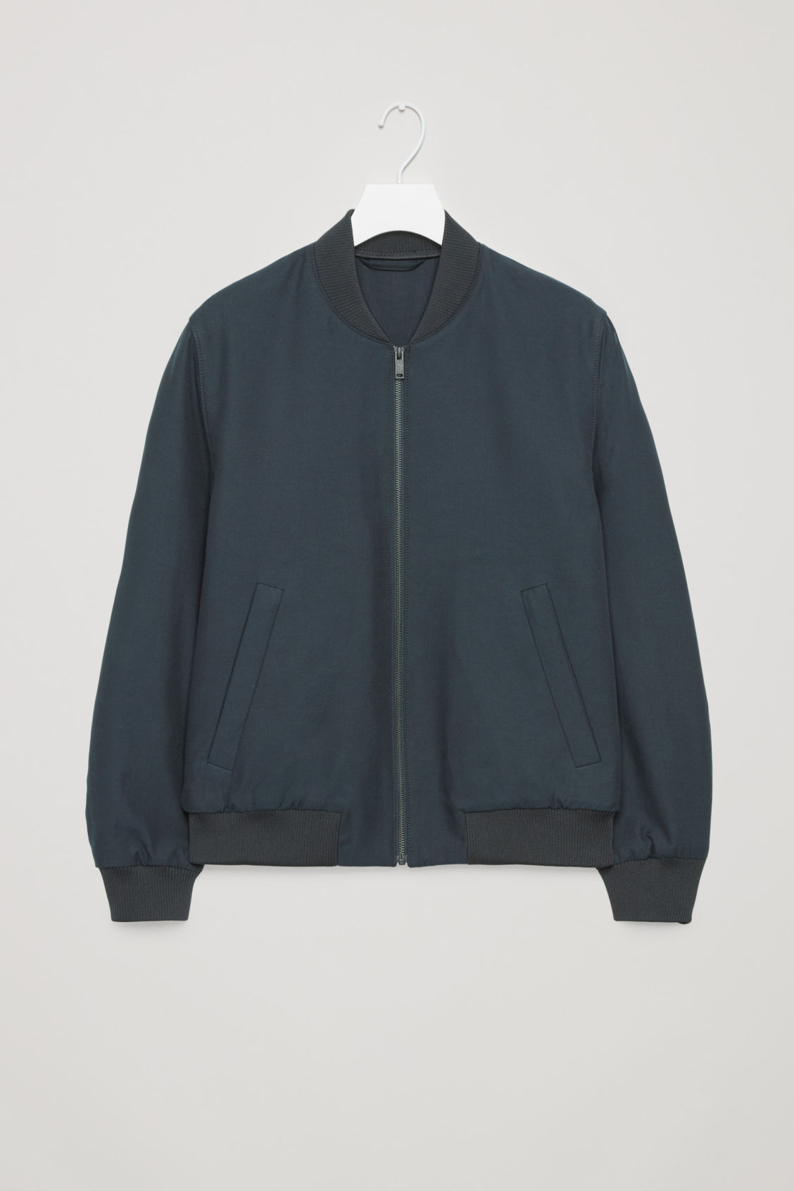 Front image of Cos cotton bomber jacket in blue