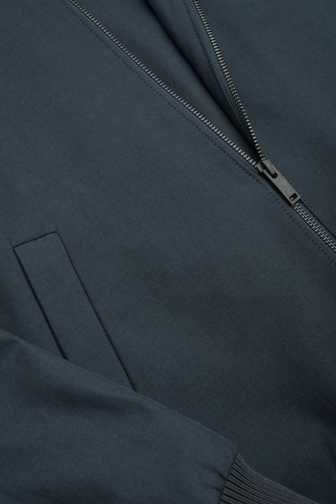 Side image of Cos cotton bomber jacket in blue