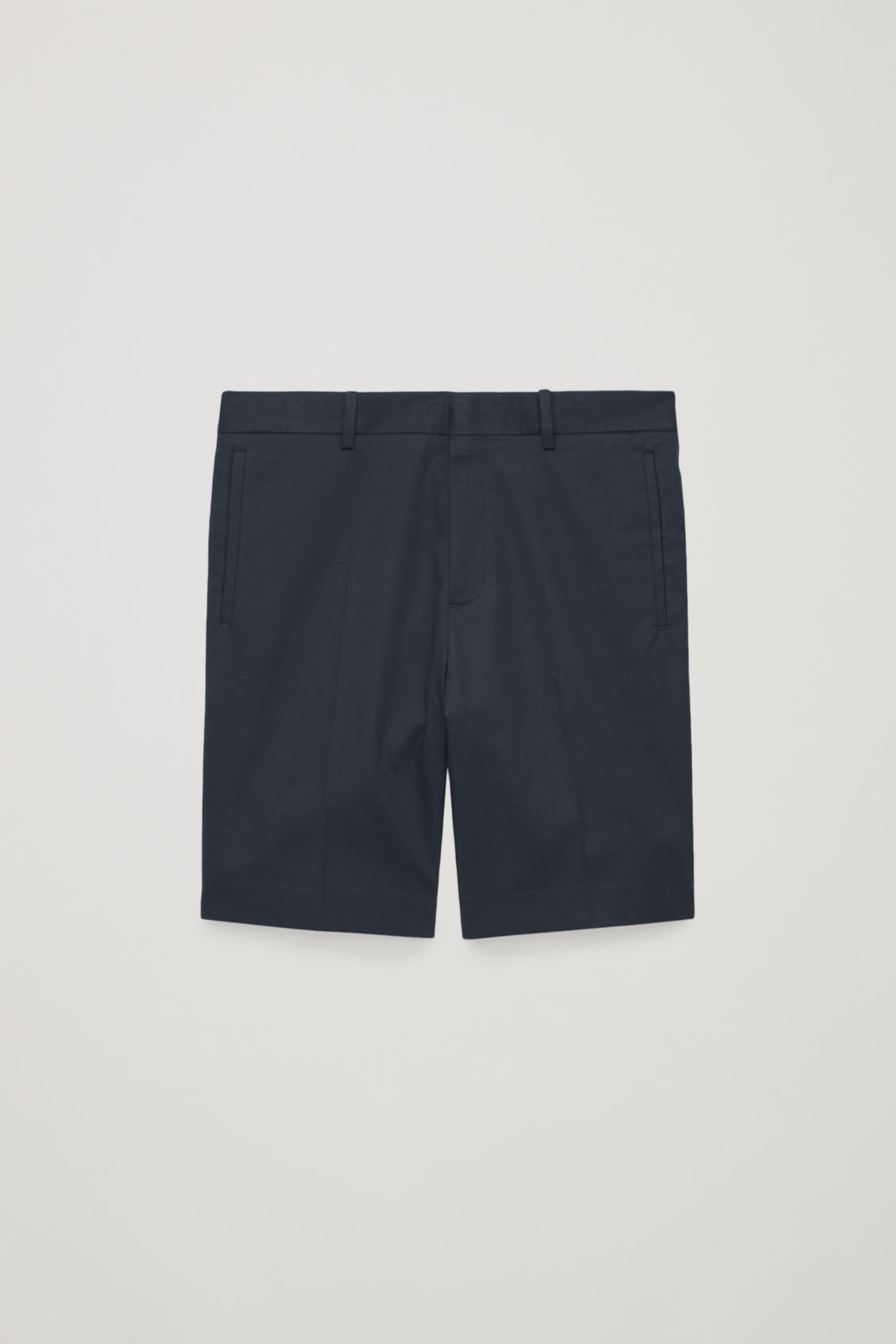 Side image of Cos slim-fit chino shorts in blue