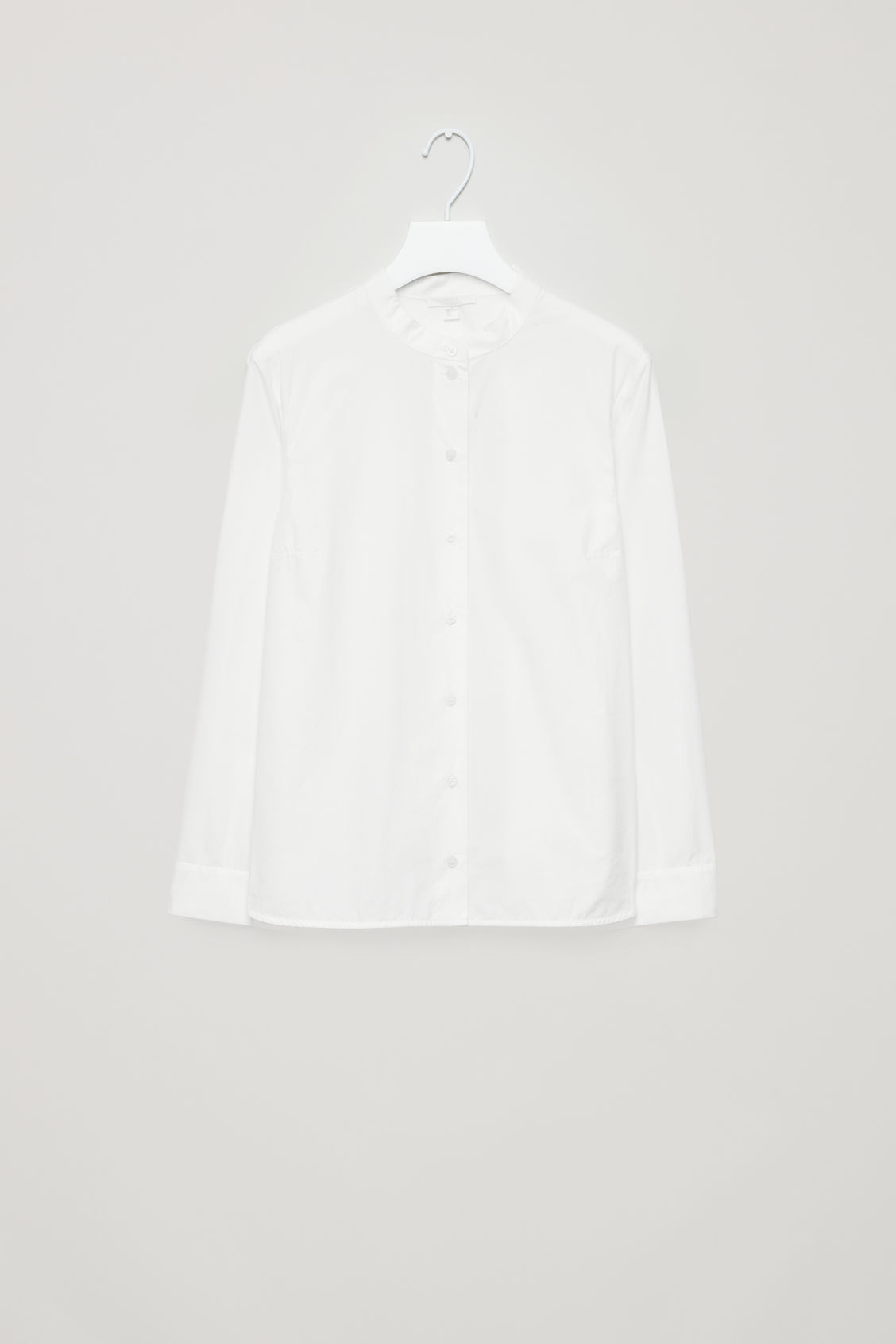 Front image of Cos grandad-collared poplin shirt  in white